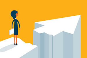 Businesswoman on standing between chasm and success